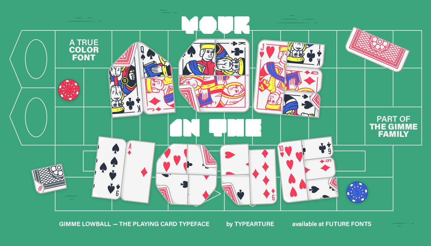 Lowball, the playing card color font