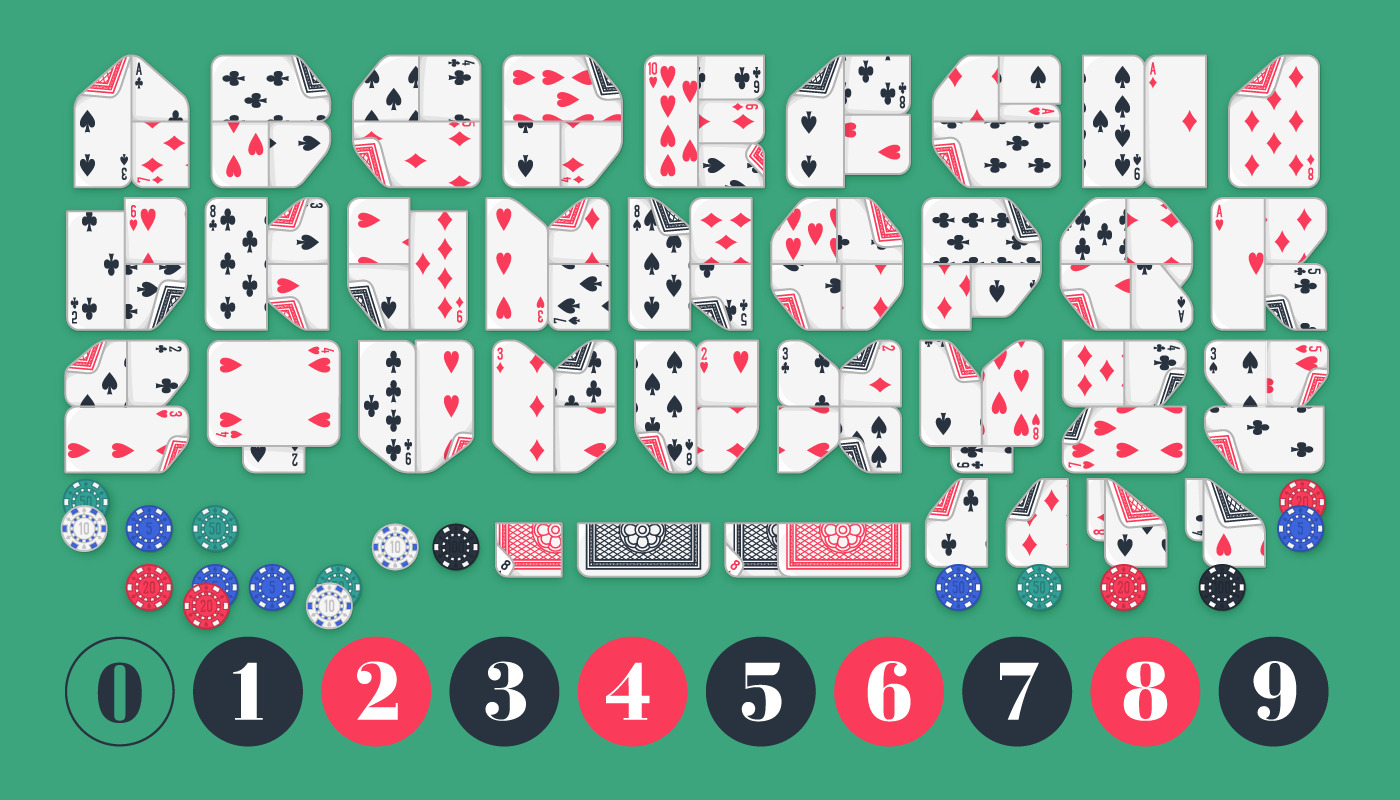 The alphabet of Lowball, the playing card font