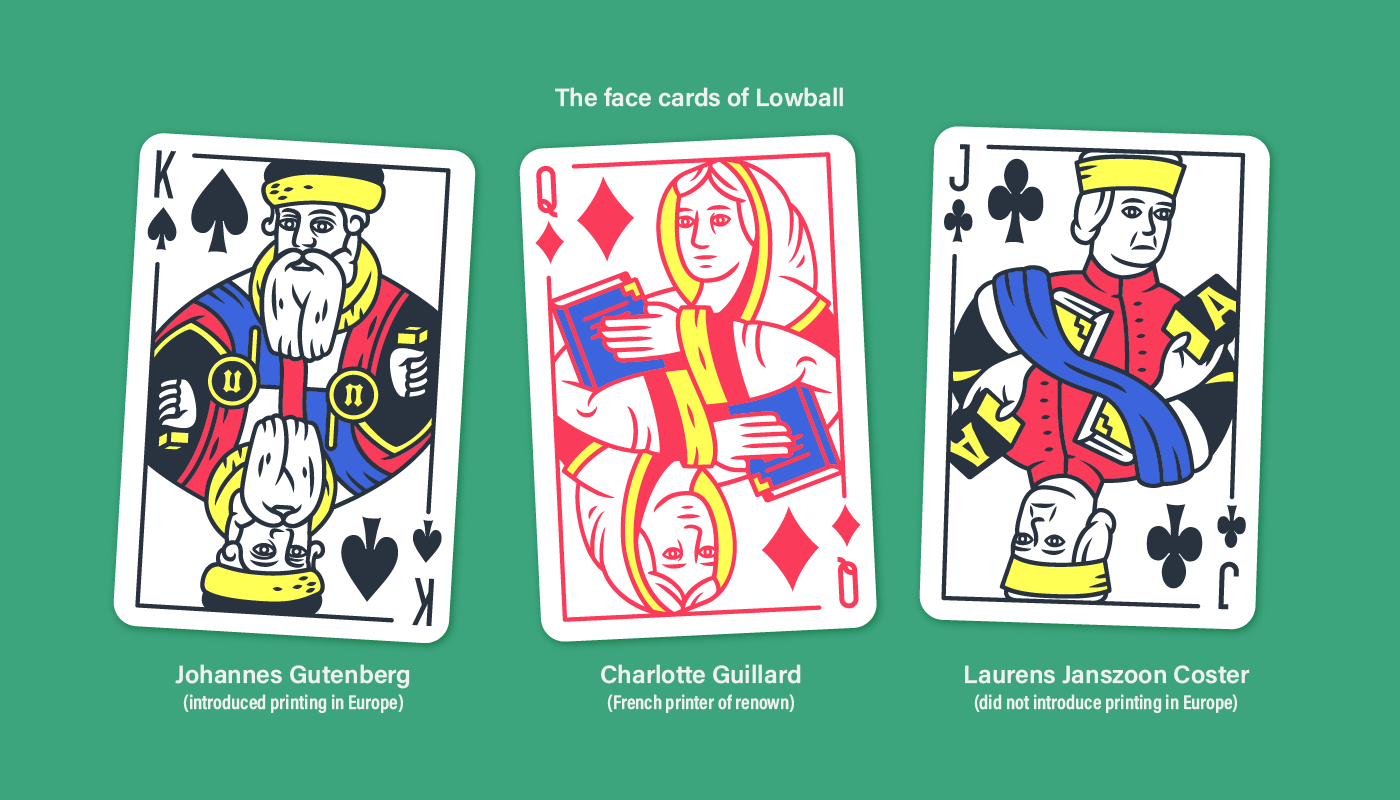 The face cards of Lowball, the playing card font